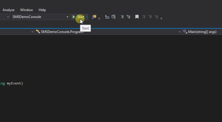 start smsdemoconsole in the integrated csharp development enviroment