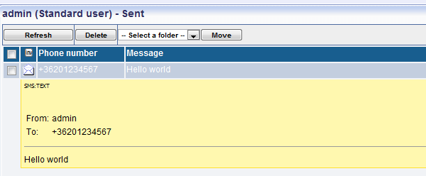 displaying sent message in the sms gateway
