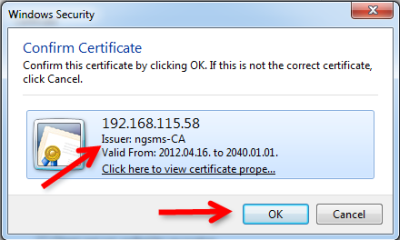 confirm the certificate