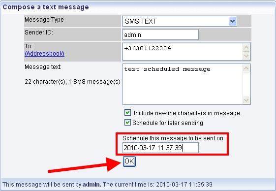 selecting a text message type
