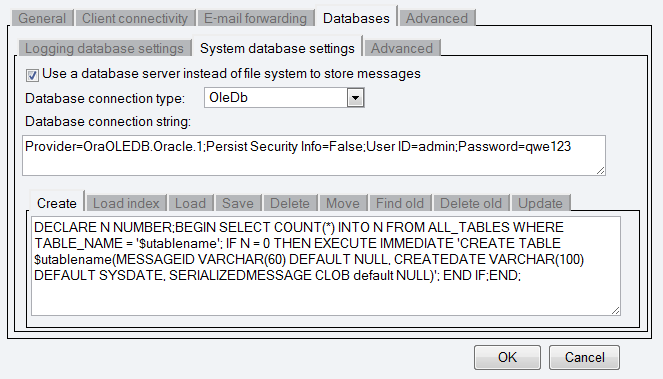 sql-sms-database-settings