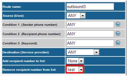 outbound sms routing list management