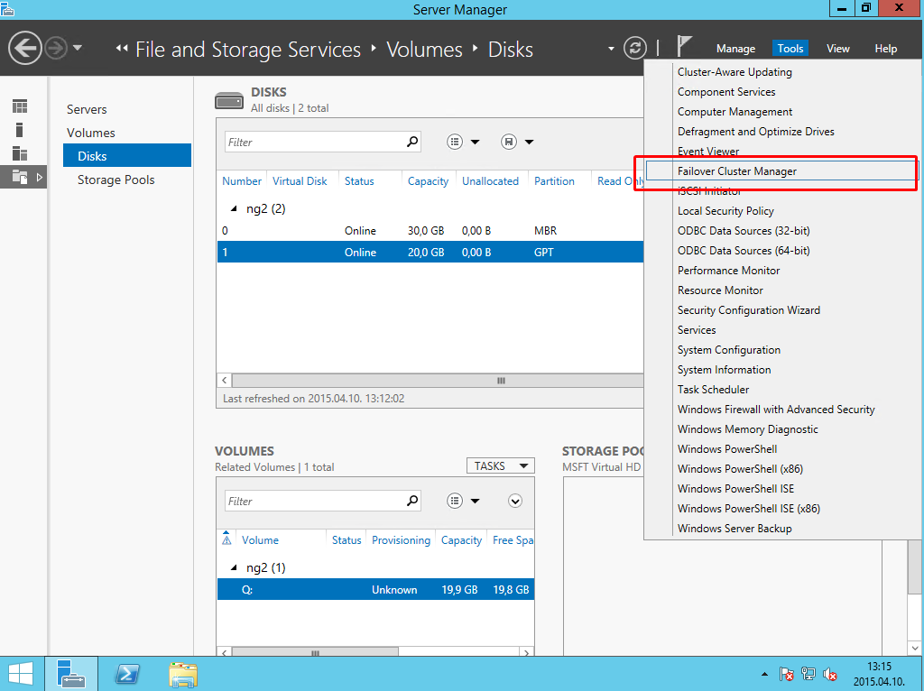 selecting failover cluster manager from the tools menu