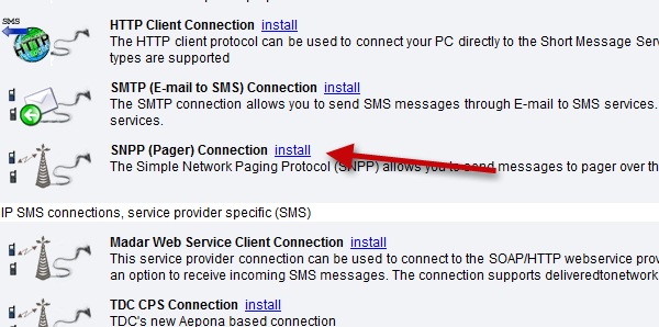SMS Gateway - Service Provider Connections, SNPP Connection